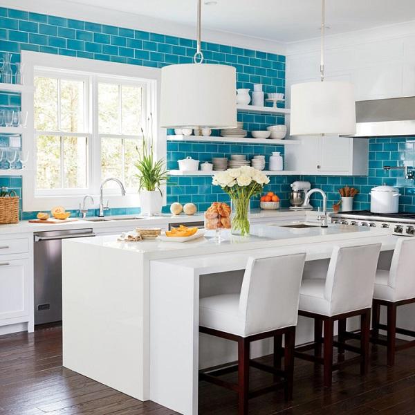 Mẫu gạch tông màu xanh Turquoise cho không gian thêm tươi mới