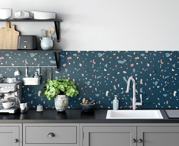 gạch ốp bếp màu xanh terrazzo