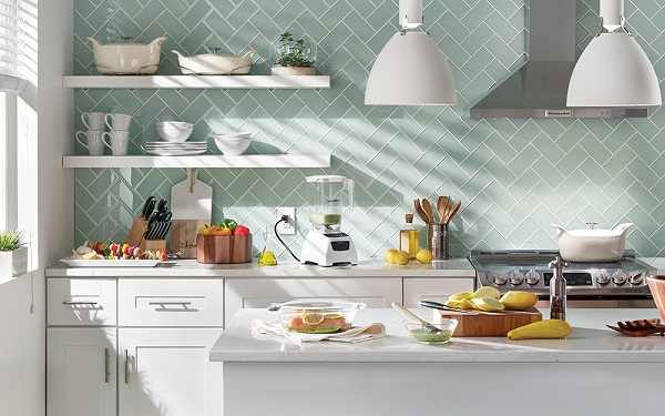 Mẫu gạch ốp bếp màu xanh thanh lịch, trang nhã