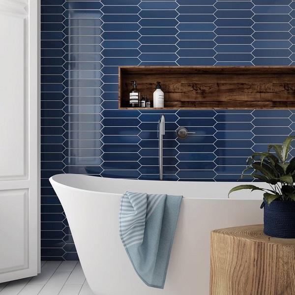 gạch ốp tường màu xanh dương lục giác