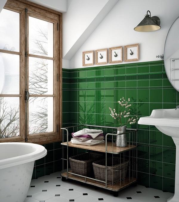 Mẫu gạch ốp tường hình vuông màu xanh ngọc lục bảo