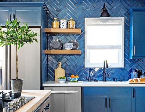 Gạch thẻ ốp bếp màu xanh cobalt
