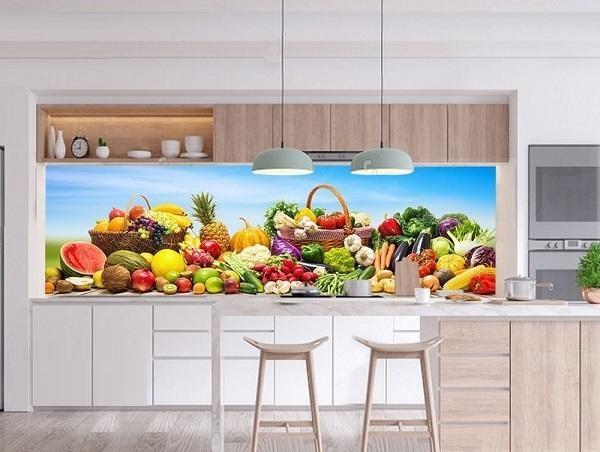 gạch ốp phòng bếp 3D với họa tiết hoa quả đầy màu sắc