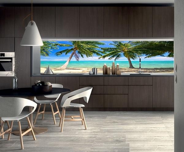 Mẫu tranh gạch 3d phong cảnh biển xanh cát trắng