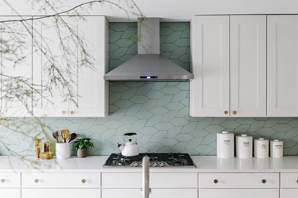 mẫu gạch ốp bếp hình lá cây màu xanh ngọc