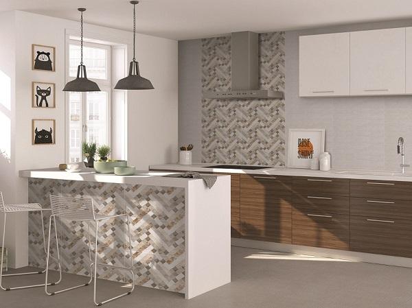 Mẫu gạch ốp tường cho nhà bếp theo bộ họa tiết hình học độc đáo
