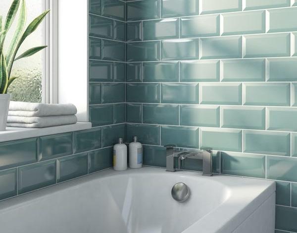 gạch ốp tường màu xanh ngọc lam dạng thẻ vát cạnh