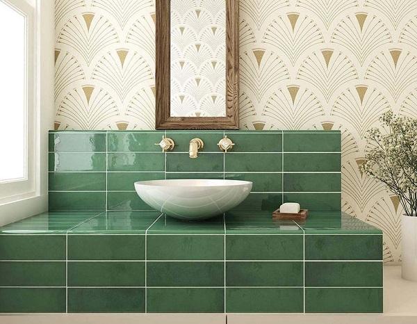 Gạch ốp tường màu xanh ngọc lục bảo cho khu vực nhà tắm