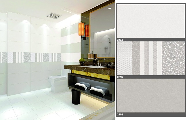 Bộ gạch ốp tường màu xám nhạt Tasa 2204 - 2205 - 2206 đơn giản mà tinh tế