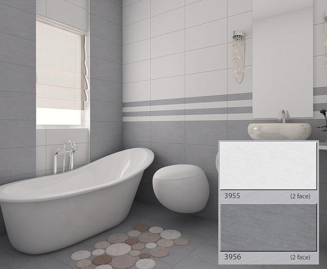 Bộ gạch ốp Tasa 3955 - 3956 đậm - nhạt chi không gian phòng vệ sinh