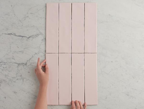 gạch thẻ ốp tường màu hồng baby