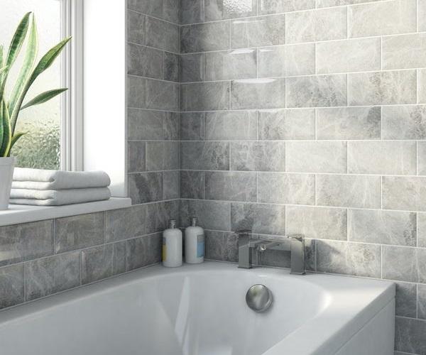 Mẫu gạch thẻ màu xám vân đá tự nhiên cho phòng tắm thêm sang trọng