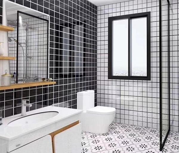 mẫu gạch thẻ vuông kết hợp 2 màu đen - trắng nổi bật cho phòng tắm