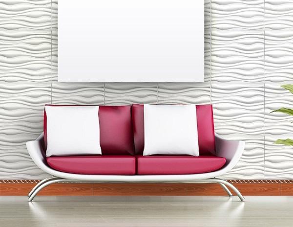 gạch len tường 12x60 prime 02802 vân gỗ kết hợp cùng gạch ốp tường lượn sóng ấn tượng