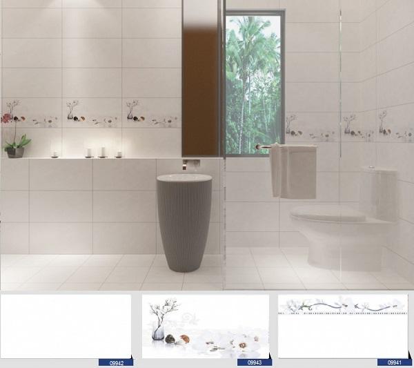 bộ gạch ốp tường màu trắng 30x60 prime 09941 - 09943 cho không gian phòng tắm