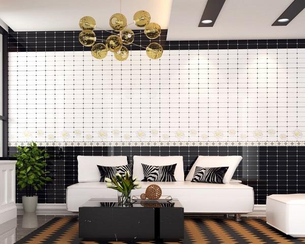 Gạch ốp tường 30x60 màu trắng Tata với sự kết hợp của mẫu gạch ốp màu trắng và đen nổi bật
