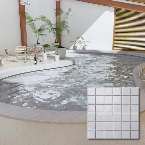 Gạch mosaic gốm màu trắng ốp hồ bơi sang trọng