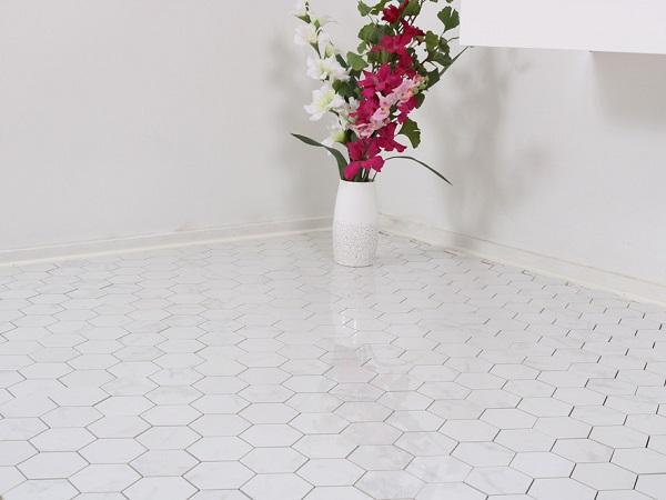 Gạch mosaic gốm hình lục giác lát nền nổi bật