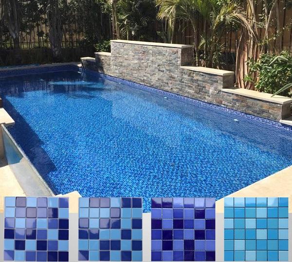 ứng dụng gạch mosaic gốm trong ốp lát bể bơi