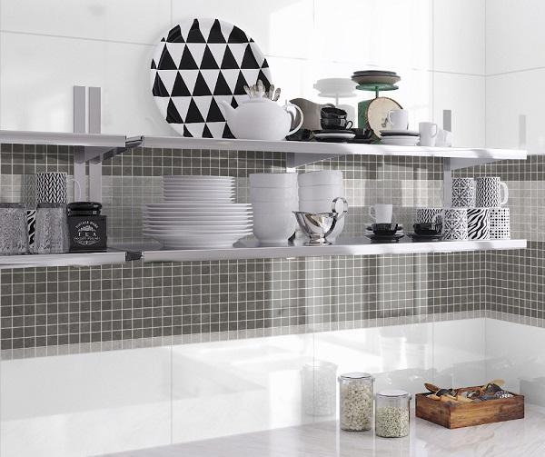 Gạch mosaic gốm trang trí tường bếp màu đen sang trọng