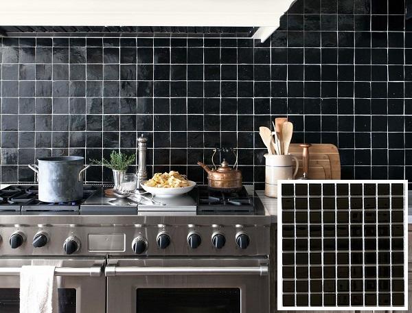 Gạch mosaic màu đen hình vuông thiết kế đơn giản nhưng vẫn rất sang trọng