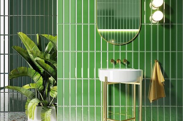 Gạch mosaic ốp phòng tắm màu xanh lá chuối cho không gian thêm tươi mát