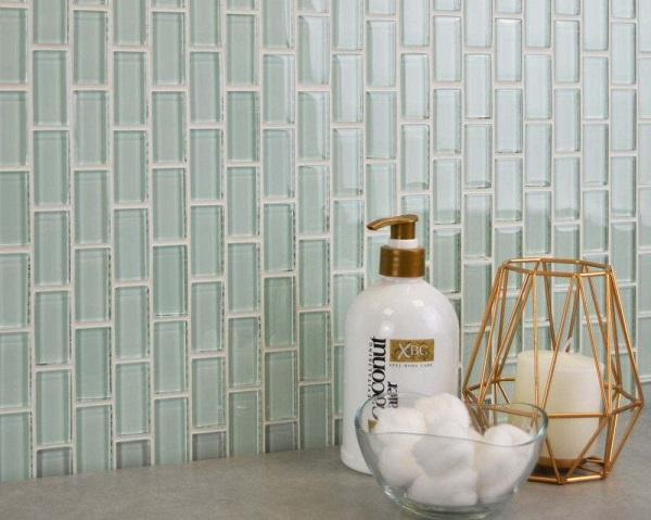 Gạch mosaic thủy tinh ốp nhà tắm màu xanh ngọc hiện đại