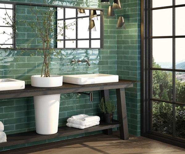 gạch mosaic màu xanh ngọc hình chữ nhật men bóng vừa mang thẩm mỹ cao vừa dễ dàng vệ sinh