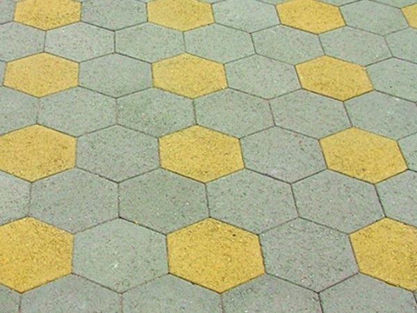 Map gạch vỉa hè lục giác kết hợp 2 màu xám - cam