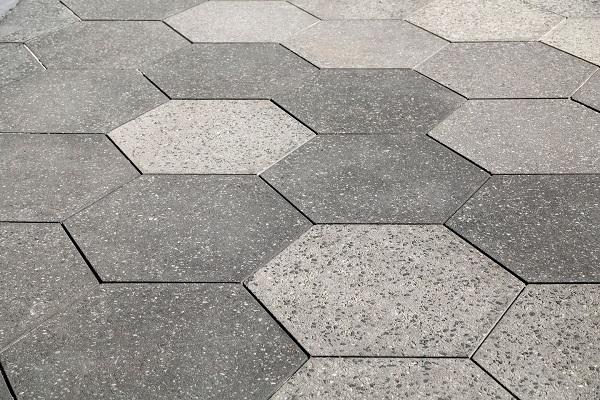Gạch Terrazzo lục giác màu ghi xám đậm - nhạt