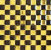Gạch mosaic thủy tinh với 2 gam màu vàng - đen sang trọng