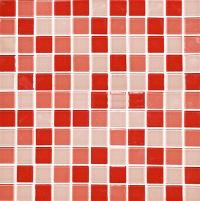 Gạch mosaic với gam màu đỏ đậm - nhạt