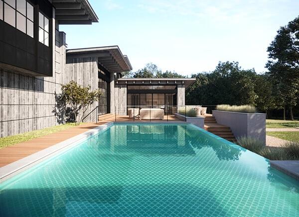 Gam màu xanh ngọc cũng được rất nhiều gia chủ ưa thích để ốp bể bơi