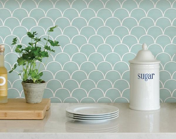 mẫu gạch mosaic màu xanh nhạt đơn giản, trang nhã