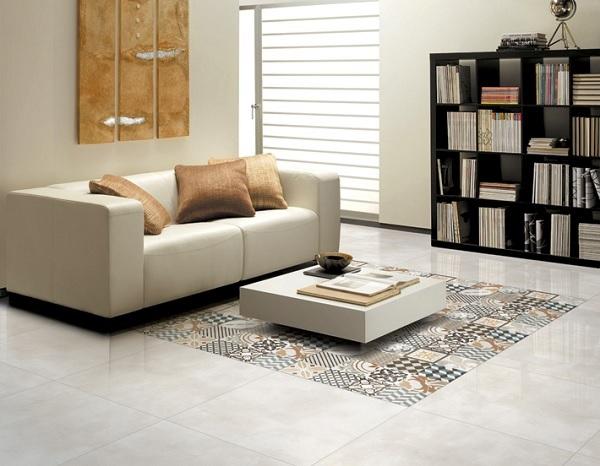 gạch thảm bông lát sàn phòng khách
