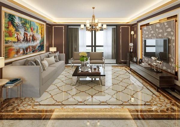 gạch thảm vô cực lát nền phòng khách